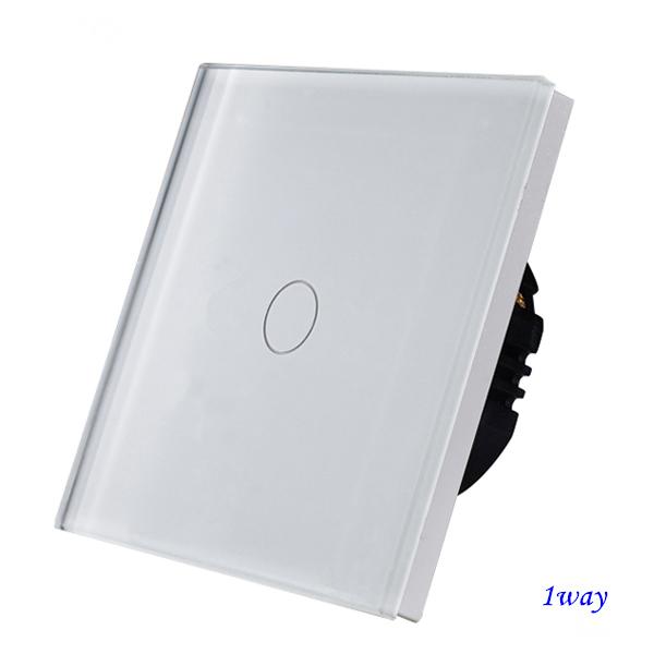Bingoelec - Dotykový vypínač, sklenený panel, jeden okruh, biely