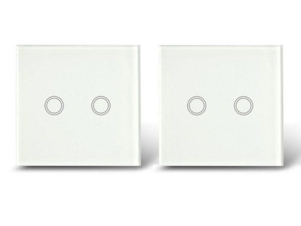 Makegood - 2ks dotykový vypínač, sklenený panel, dva okruhy, biely