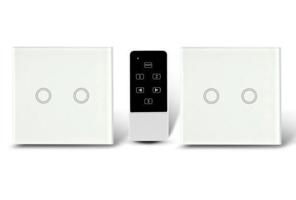 Makegood - 2ks dotykový vypínač, sklenený panel, s DO, dva okruhy, biely