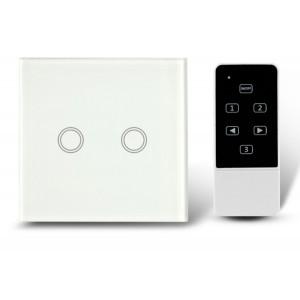 Makegood - Dotykový vypínač, sklenený panel s DO, dva okruhy, biely