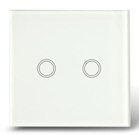 Makegood - Dotykový vypínač, sklenený panel, dva okruhy, biely