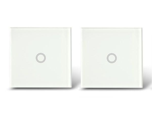 Makegood - 2ks dotykový vypínač, sklenený panel, jeden okruh, biely
