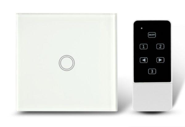 Makegood - Dotykový vypínač, sklenený panel s DO, jeden okruh, biely