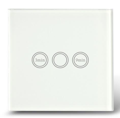Makegood - Dotykový vypínač s funkciou časovača, sklenený panel, biely