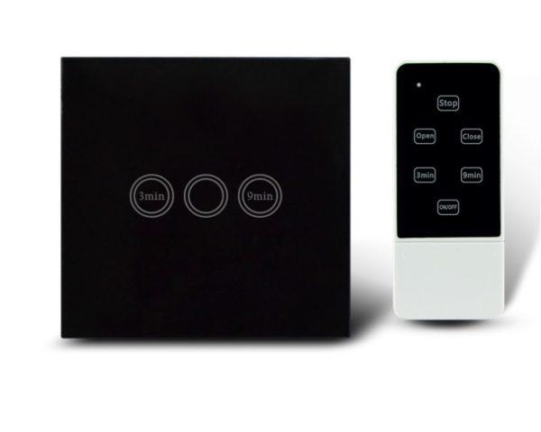 Makegood - Dotykový vypínač s funkciou časovača s DO, sklenený panel, čierny