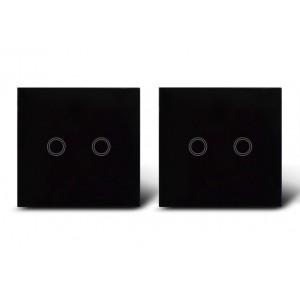Makegood - 2ks dotykový vypínač, sklenený panel, dva okruhy, čierny