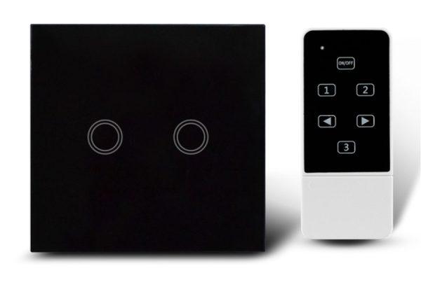 Makegood - Dotykový vypínač, sklenený panel s DO, dva okruhy, čierny