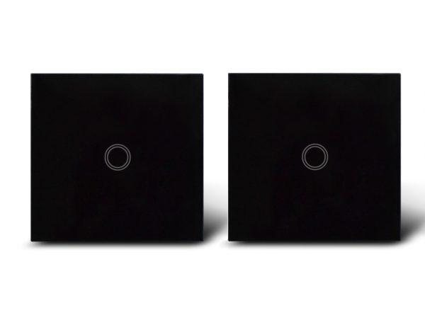 Makegood - 2ks dotykový vypínač, sklenený panel, jeden okruh, čierny