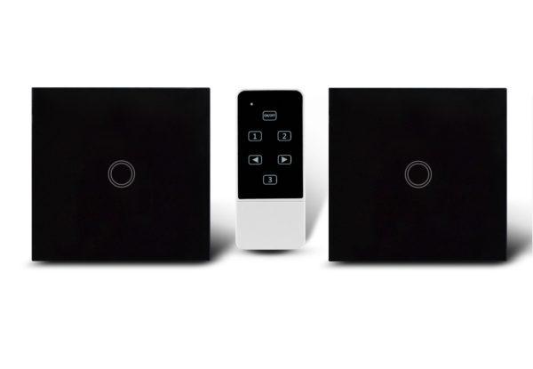 Makegood - 2ks dotykový vypínač, sklenený panel, s DO, jeden okruh, čierny