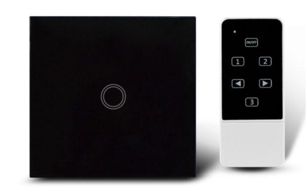 Makegood - Dotykový vypínač, sklenený panel s DO, jeden okruh, čierny