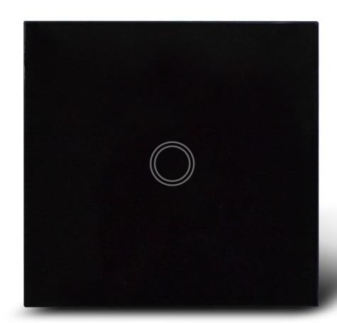 Makegood - Dotykový vypínač, sklenený panel, jeden okruh, čierny