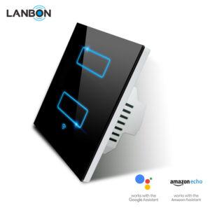 Lanbon - dotykový vypínač s WiFi, séria L6 – dva okruhy, čierny