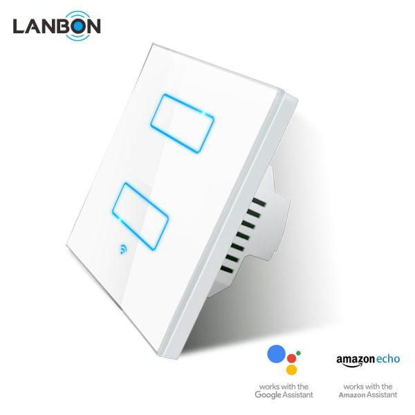 Lanbon - dotykový vypínač s WiFi, séria L6 – dva okruhy, biely