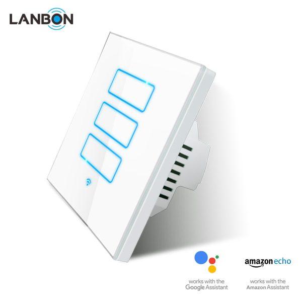Lanbon - dotykový vypínač s WiFi, séria L6 – tri okruhy, biely