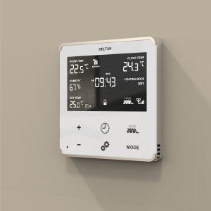 Heltun dotykovy termostat na podlahove vykurovanie HE-HT01 - White Glass with Silver Case on wall