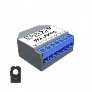 Shelly EM WiFi merač spotreby do 120A, 1x 120A svorka, výstup 1x2A