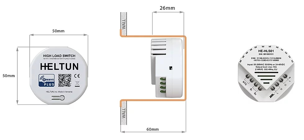 Heltun-High-Load-Switch-Z-Wave-spinacie-rele-16A-HE-HLS01 - rozmery