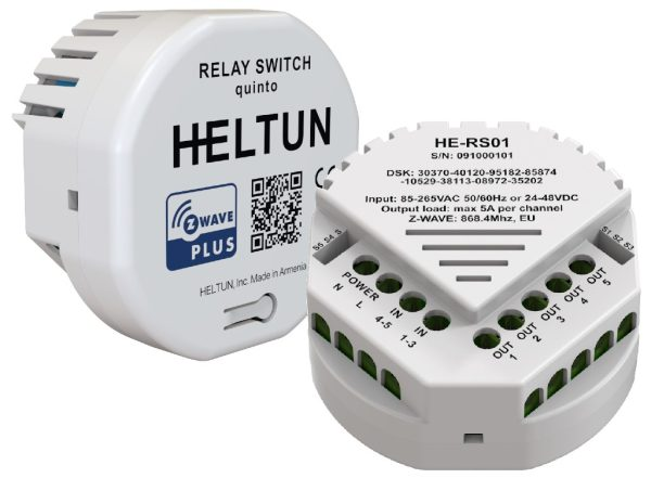 Heltun Z-wave spinacie rele 5 kanalove HE-RS01 - Front - back